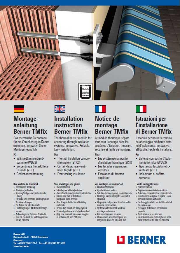 Notice de montage de store banne suisse Berner TMfix